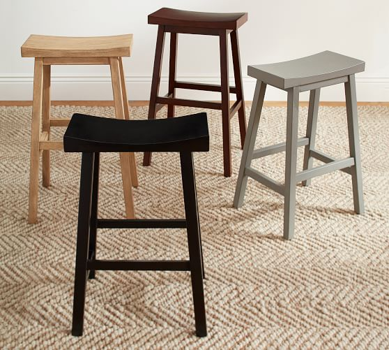 Tibetan Bar Stool, Slate Gray | Pottery Barn