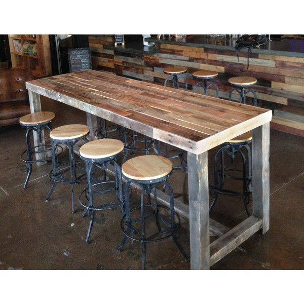 Reclaimed wood community bar restaurant table is well sanded and