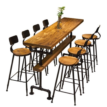 Industrial style retro bar table coffee shop solid wood wall high