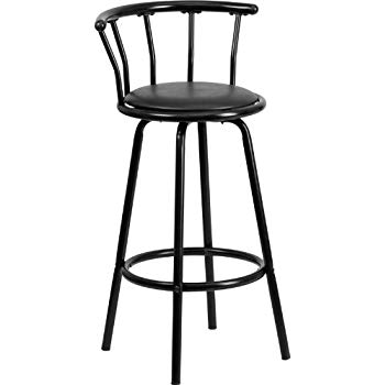 Amazon.com: Flash Furniture Crown Back Black Metal Barstool with
