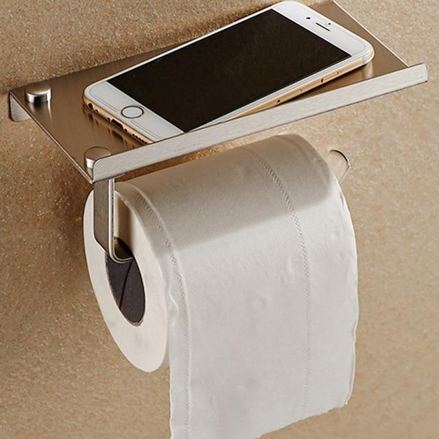 Stainless Steel Bathroom Roll Toilet Paper Rack Shelves Mobile Phone