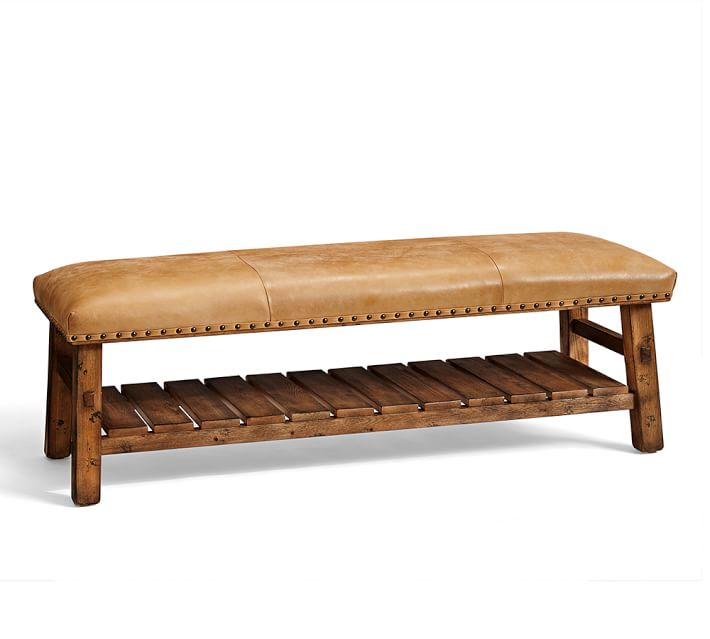Caden Leather Bench | Pottery Barn