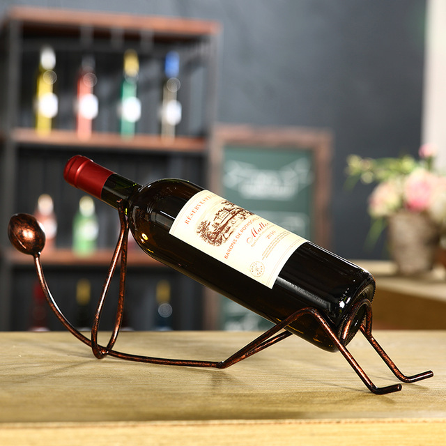 Fashion Simple Red Bottle Rack Wine Rack Ornaments Iron Frame