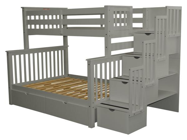 Bunk Beds Twin over Full Stairway Gray | 2 Drawers | $979