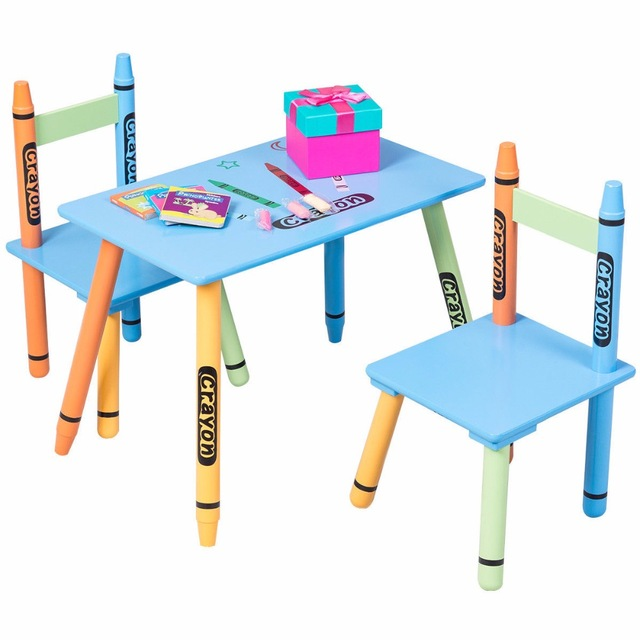 Giantex 3 Piece Crayon Kids Table & Chairs Set Wood Children