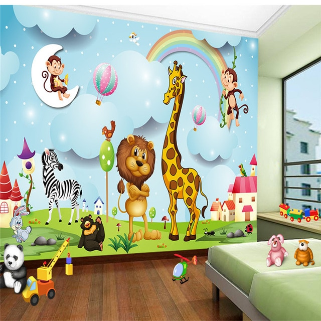 Custom Photo Wallpapers3D Cartoon Pattern Wall Murals Tiger Giraffe