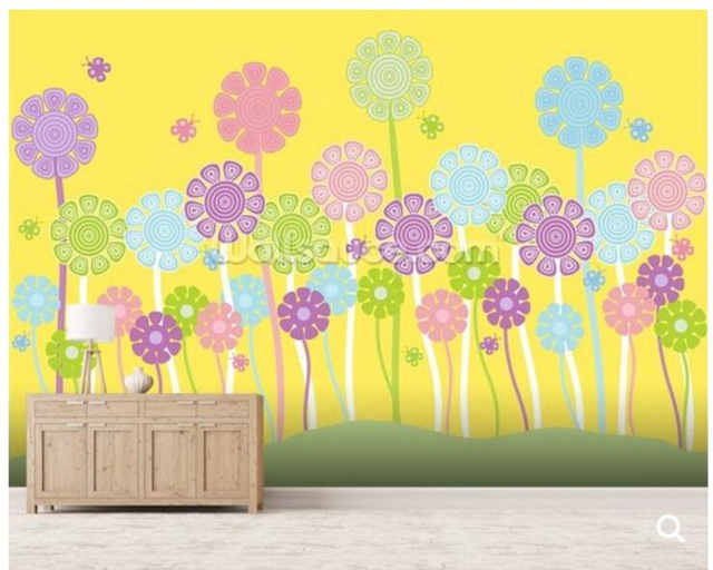 Customized children wallpaper, Pastel Flowers Nursery for children's
