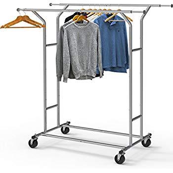 Amazon.com: Simple Houseware Heavy Duty Double Rail Clothing Garment