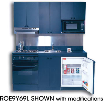 Acme ROG10Y69 Compact Kitchen with Stainless Steel Countertop, 4 Gas