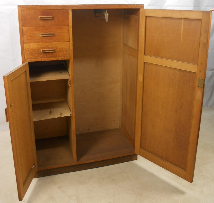 Compact Light Oak Wood Wardrobe Storage Cupboard - SOLD