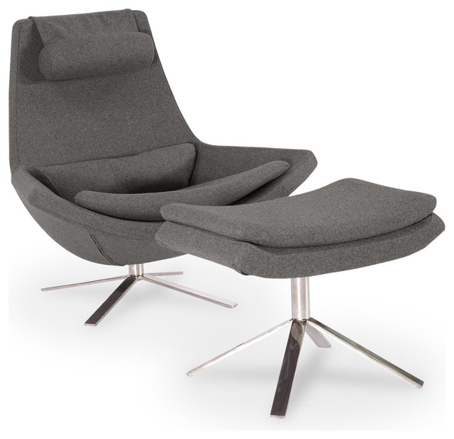 Retropolitan Cashmere Lounge Chair and Ottoman, 2-Piece Set
