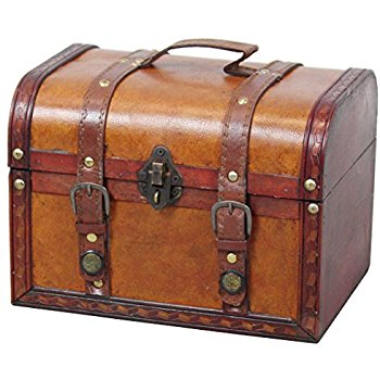Amazon.com: Vintiquewise(TM Decorative Wood Leather Treasure Box