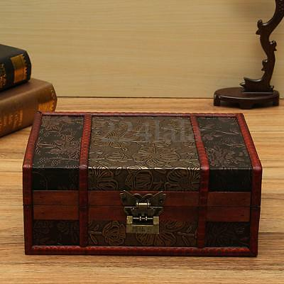 LARGE DECORATIVE TRINKET Jewelry Lock Chest Handmade Wooden Storage