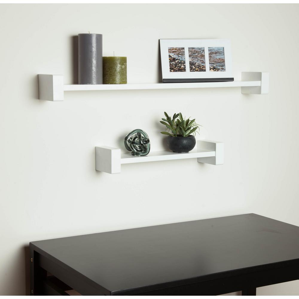 Honey-Can-Do 15.75 in. x 3.94 in. H-Shape White Wall Shelf Decorative Shelf-SHF-04397  - The Home Depot