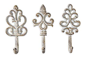 Shabby Chic Cast Iron Decorative Wall Hooks - Rustic - Antique - French  Country Charm -