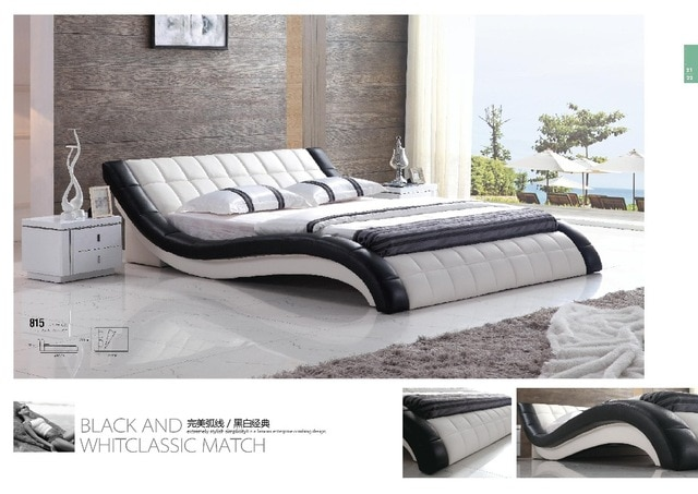 Luxury modern double bed design furniture leather bed for hot sale