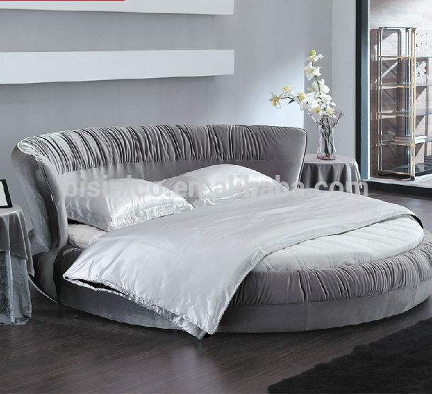 New Model--bisini Top Grade Fabric Grey Round Bed,Double Bed - Buy