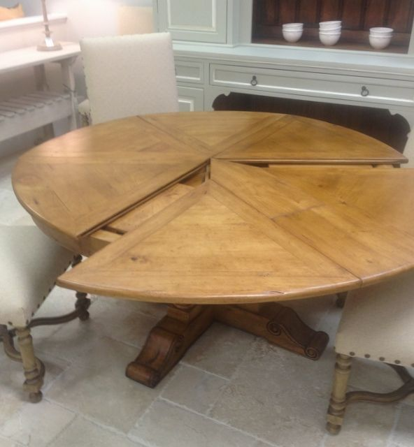 Round Extending Kitchen Table 60 Extendable Solid Wood Pertaining To