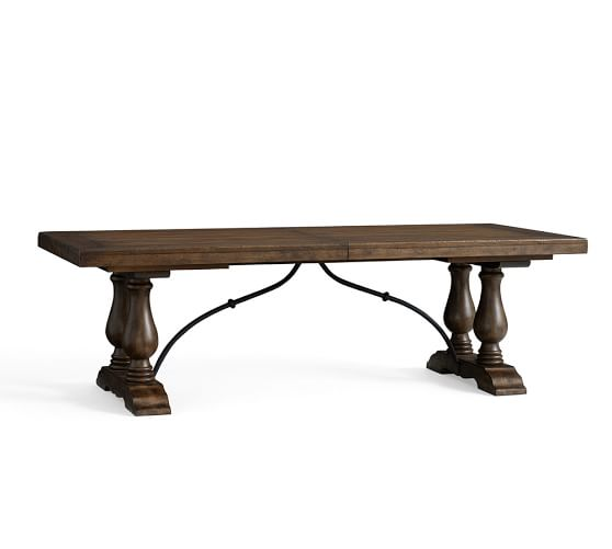 Lorraine Extending Dining Table, Rustic Brown | Pottery Barn