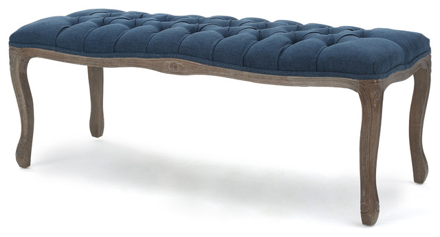 Tasette Tufted Royal Blue Fabric Bench - Contemporary - Upholstered