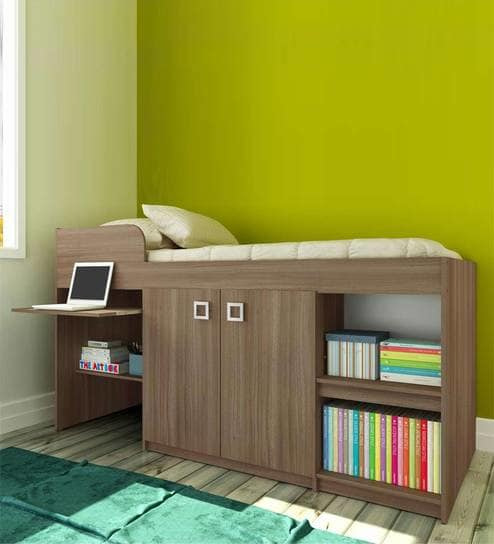 Buy McBruno Multi-Functional Storage Bed in Brown Oak by Mollycoddle