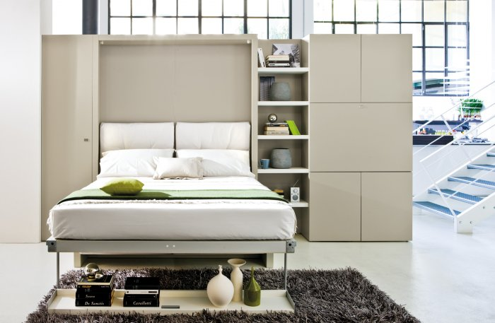 Functional white wall bed - isnde a modern home | Founterior