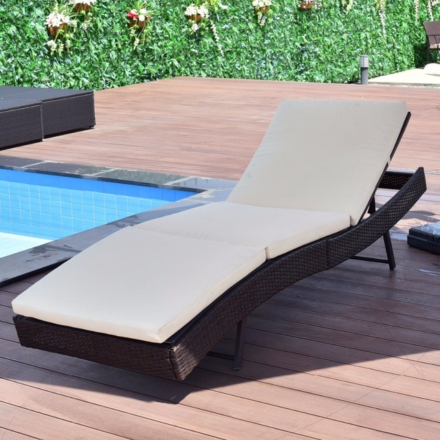Giantex Patio Sun Bed Adjustable Pool Wicker Lounge Chair Portable