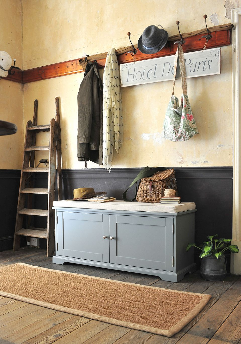 Grey hallway furniture, country house, country living, fishing basket,  wooden floors, cottage hallway, country cottage, rustic hallway, modern  country,