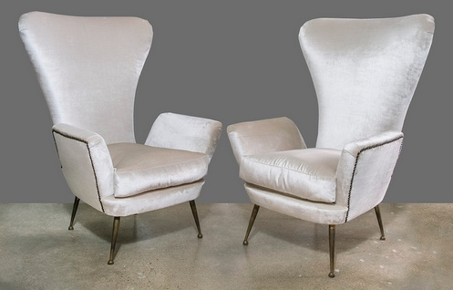 PAIR: Paolo Buffa High Back Arm Chairs 1950s - Feliz Interiors Houston