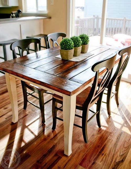 Make a farmhouse table out of existing table. | Home | Farmhouse