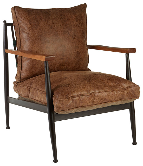 New Foundry Faux Leather Armchair - Midcentury - Armchairs And