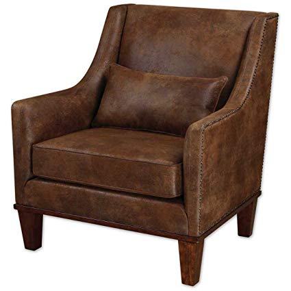 Amazon.com: Uttermost 23030 Clay Leather Armchair, Antiqued Brass