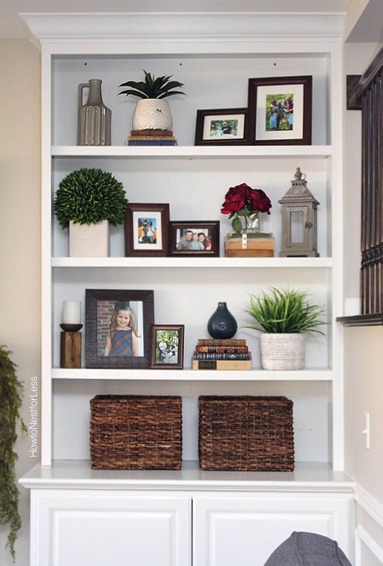Styled Family Room Bookshelves | decorating bookshelf | Pinterest