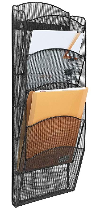 Amazon.com : Greenco Mesh 5 Slot Wall Mounted Magazine Rack Holder