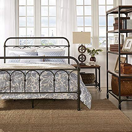 Amazon.com: Morocco Vintage Metal Bed Frame Antique Rustic Dark