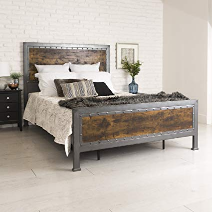 Amazon.com: New Rustic Queen Industrial Wood and Metal Bed-Includes