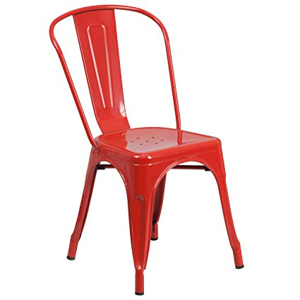 Amazon.com: Flash Furniture Metal Chair, Red: Kitchen & Dining
