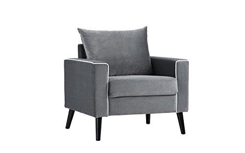 Mid-Century Modern Velvet Fabric Armchair Living Room Accent Chair (Dark  Grey)
