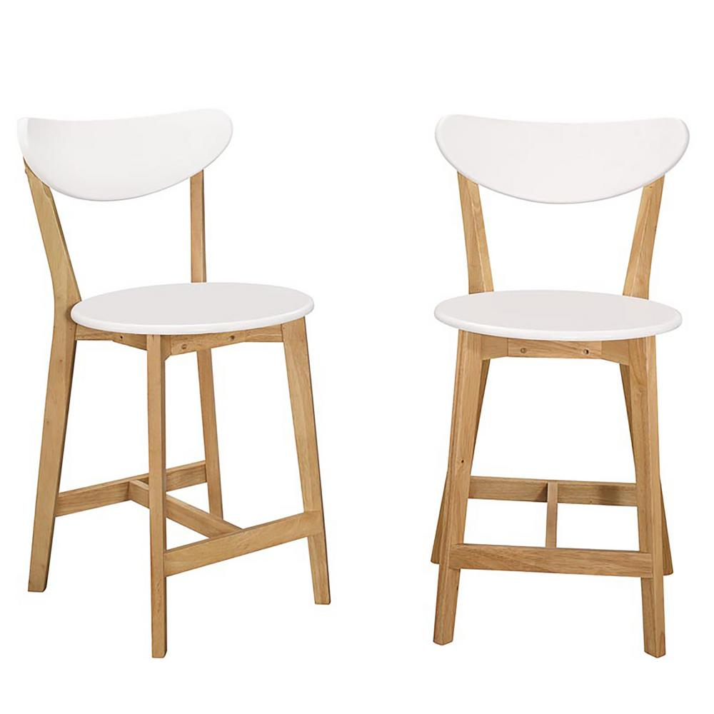 Walker Edison Furniture Company Retro Modern Barstools in White and Natural  (Set of 2)