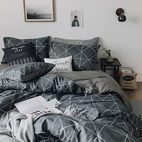 HIGHBUY Premium Cotton Full Bedding Sets Grey 3 Piece for Men Boys  Geometric Duvet Cover Set
