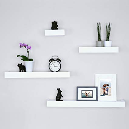 Traveller Location: Ballucci Modern Ledge Wall Shelves, Set of 4, White: Home &  Kitchen