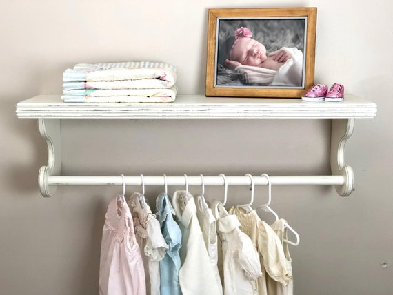 Nursery shelves Hanging clothes rack Distressed shelf Shelf | Etsy