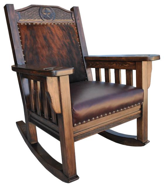 Texas Western Rocking Chair, Cowhide - Southwestern - Rocking Chairs