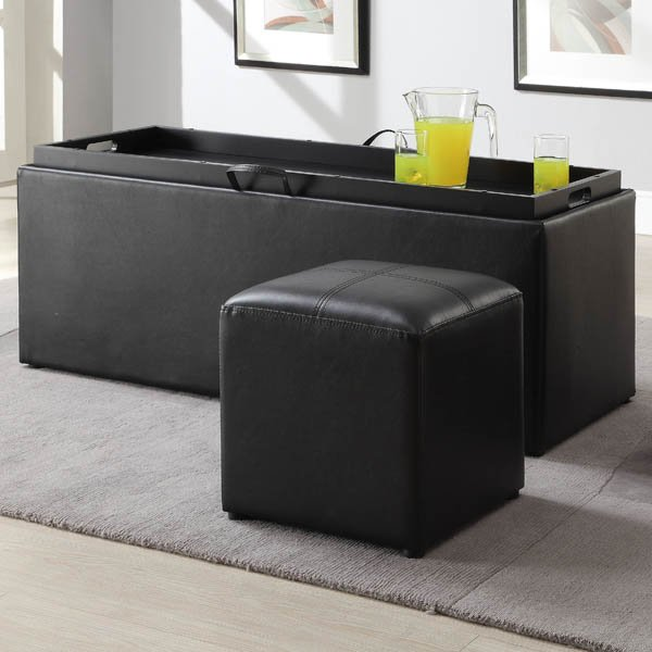 Blasey Storage Bench with Serving Tray and Seating Cubes | Weekends