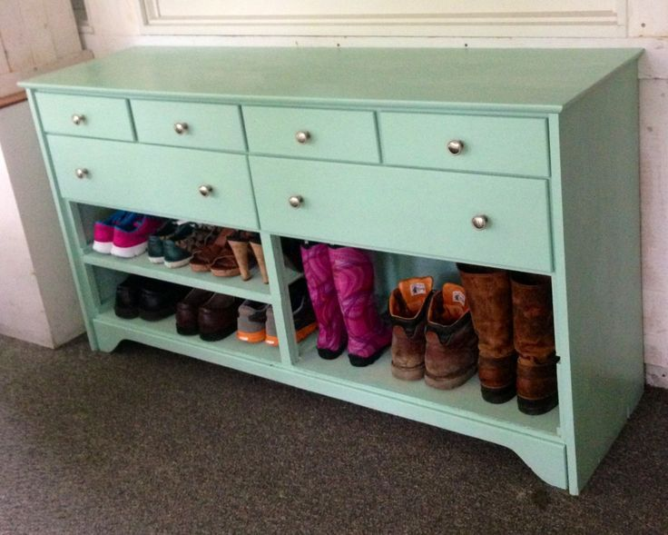 Old dresser painted and turned into a shoe rack and hat and mitten
