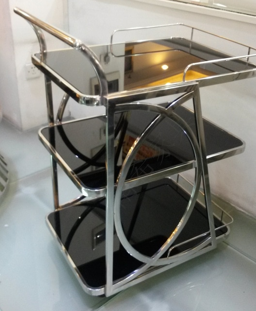 Stainless steel side tables new hotel furniture moving trolleys
