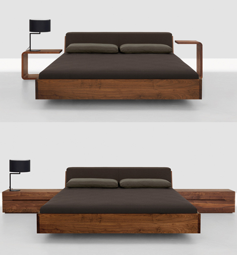 Solid Wood Beds - Fusion bed with upholstered headboard by Zeitraum