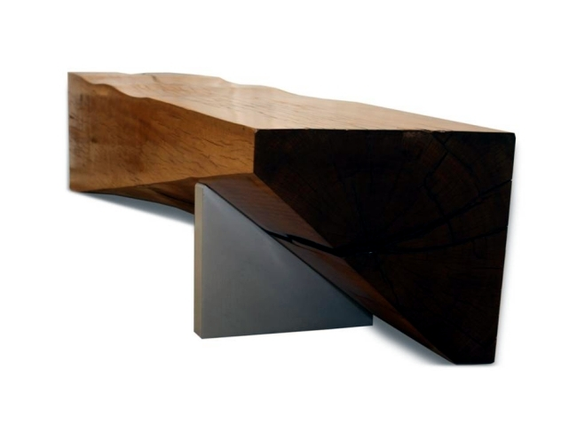 Solid wood furniture complete the minimalist interior wooden benches
