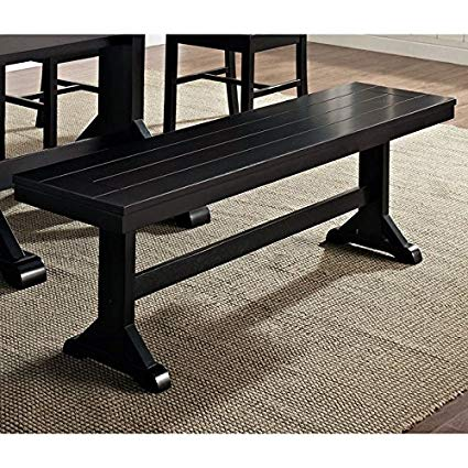 Amazon.com - New 5 Foot Wide Solid Wood Dining Bench in Black Finish