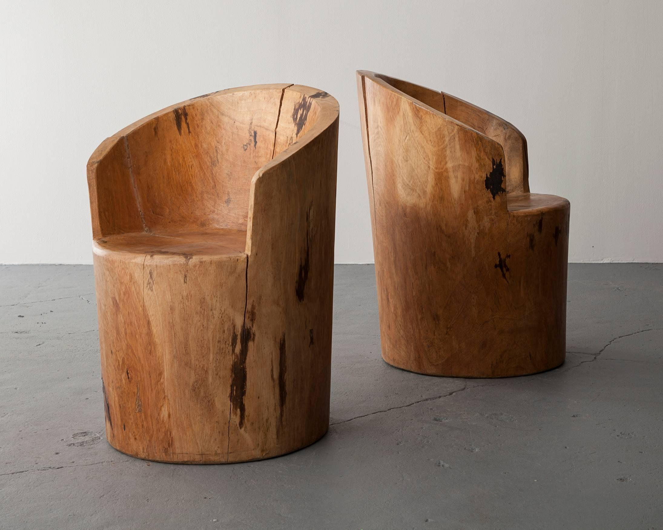 Sculpted Solid Wood Chair For Sale at 1stdibs